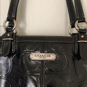 COACH shoulder bag, black patent leather